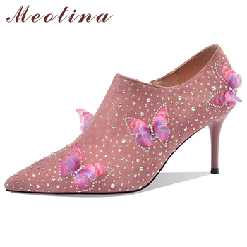 Meotina High Heels Women Pumps Kid Suede Crystal Thin High Heel Party Shoes Real Leather Zipper Pointed Toe Shoes Ladies Size 40