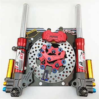 Motorcycle Front Shock Absorbers front Fork 27mm/370mm+Brake pump + bracket + 200mm floating disc For Yamaha Scooter Modify