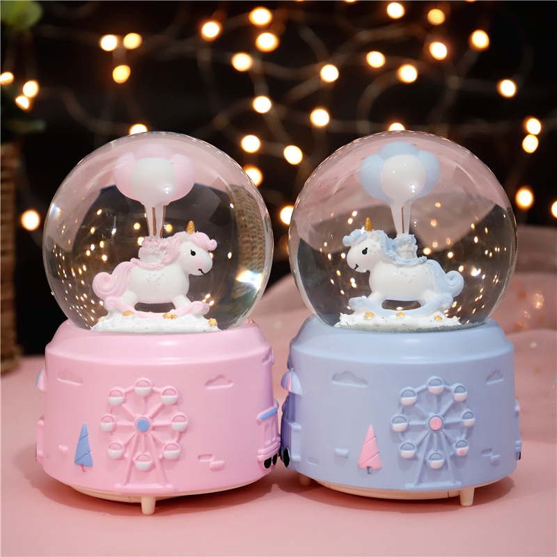 10*15.8cm Unicorn Crystal Snow Globes <font><b>Glass</b></font> Music Box <font><b>snowball</b></font> Home Office INterior Decoration Christmas Valentine's Day Gifts image