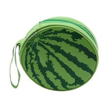 Green Watermelon Pattern 24 Capacity CD DVD Round Pouch Wallet Case Holder Fresh Fruit Car Interior Storage Bag(China)