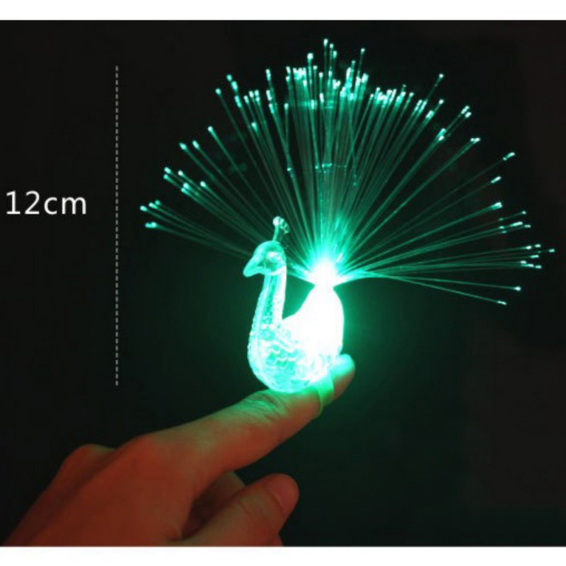 Funny Plastic Material Peacock Finger Light Colorful Toy LED Light-up Rings Random Color Party Gadgets Kids Intelligent New Toy