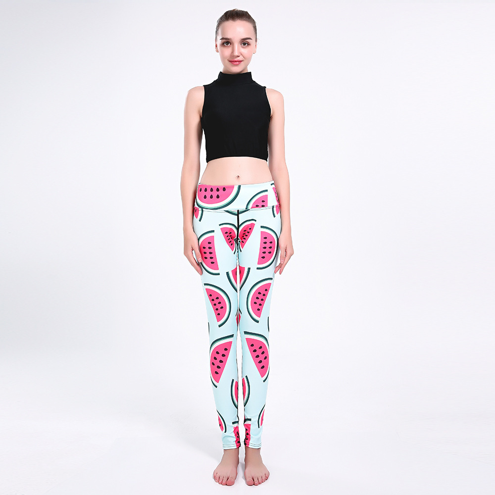 Watermelon Printing Shows Thin Buttocks Breathable Air Super Elastic Quick Drying Women's Nine-point Lady Pants Leggings