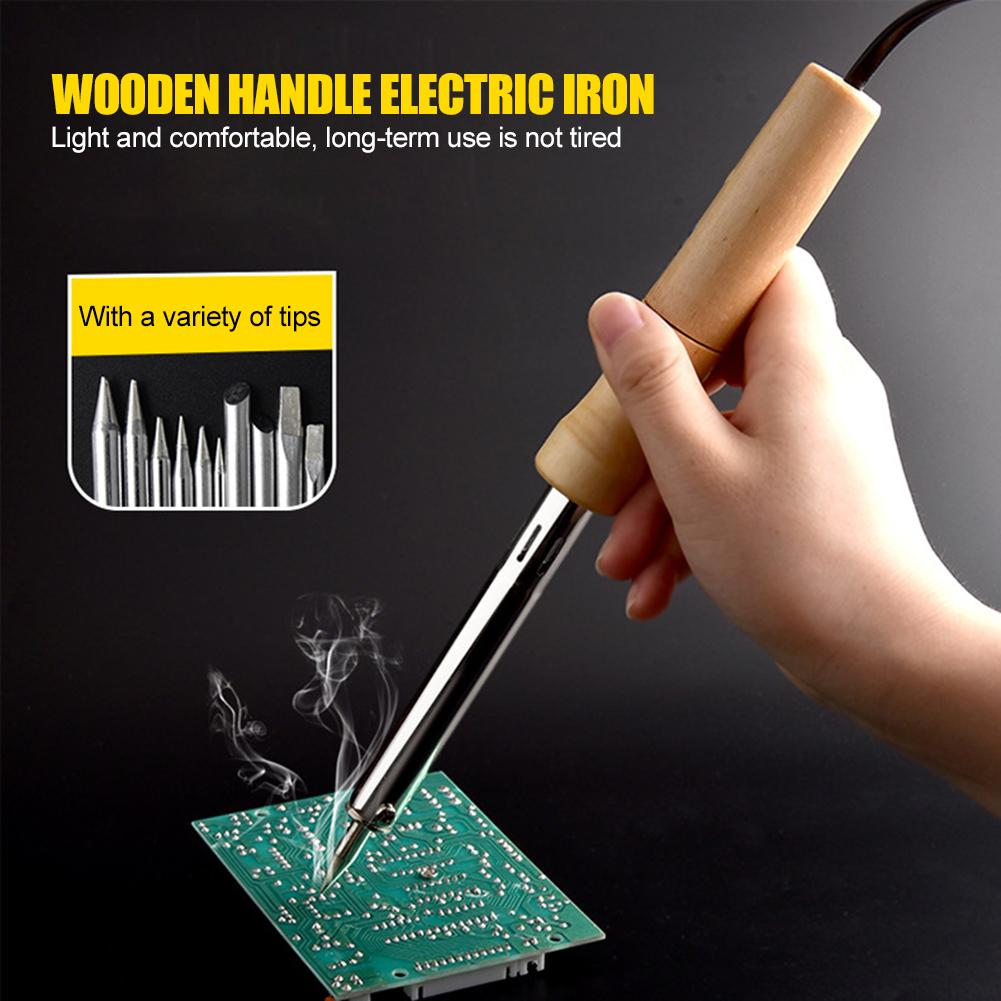 220V Wood Handle Mini Soldering Iron Rework Station Electric Solder Iron Tool Practical Operation Simple Conveninently