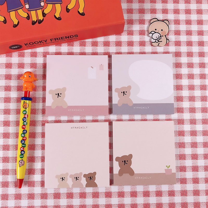 50Sheets/Lot Kawaii Korean INS Friend Bear Dialog Memo Pad N Times Sticky Notes Portable Notepad School Office Supply