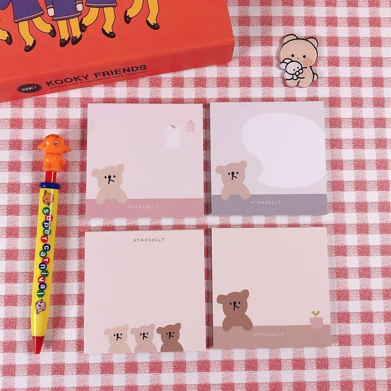 50Sheets/Lot Kawaii Korean INS Friend Bear Dialog Memo Pad N Times Sticky Notes Portable Notepad School Office Supply