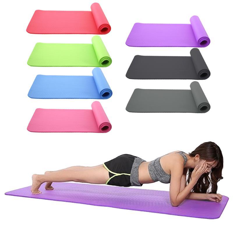 10mm Fitness Equipment NBR Non-slip Yoga Mat Classic Colors Fitness Pilates Mat For Outdoor Gym Exercise Dance Mat 183*61cm