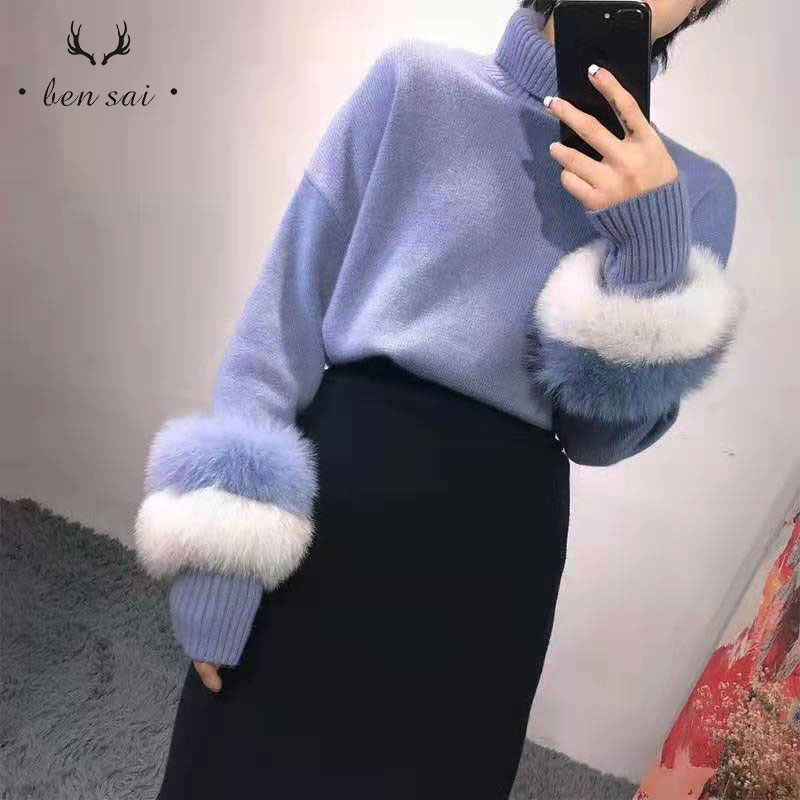 Women Casual Turtleneck Knitted Sweater Style Stitching Fox Chic Sleeve Loose Pullover Sweater Autumn Women New
