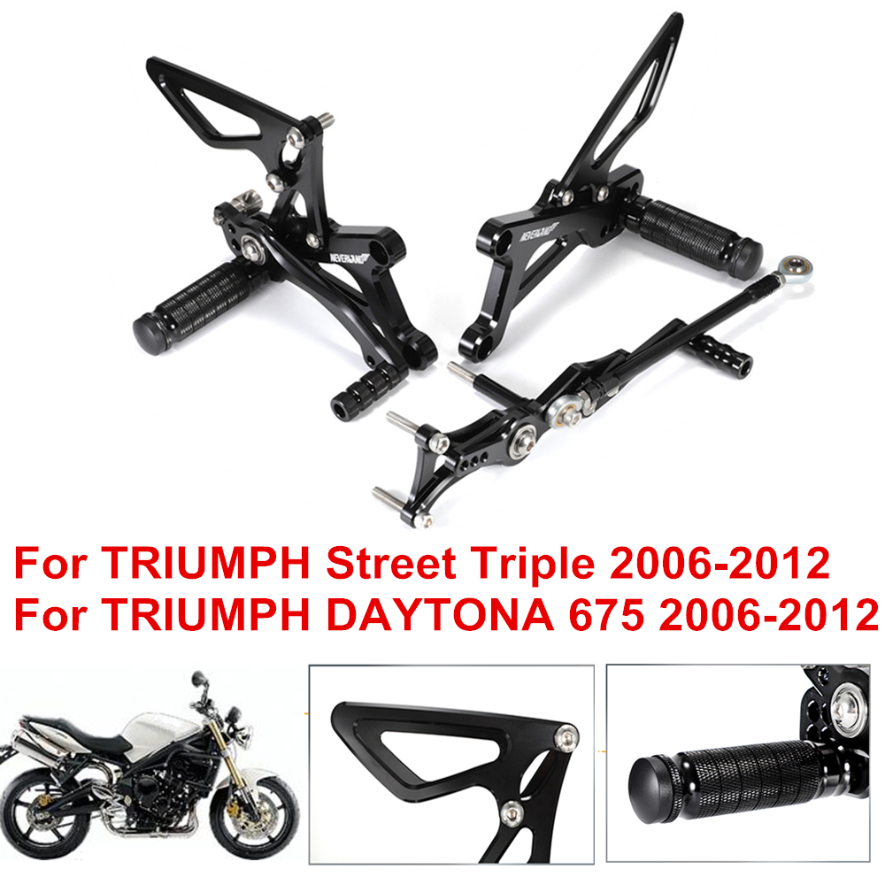 CNC Aluminum Motorcycle Footrests Rear Foot Pegs Pedals For TRIUMPH Street Triple DAYTONA 675 2006-2012