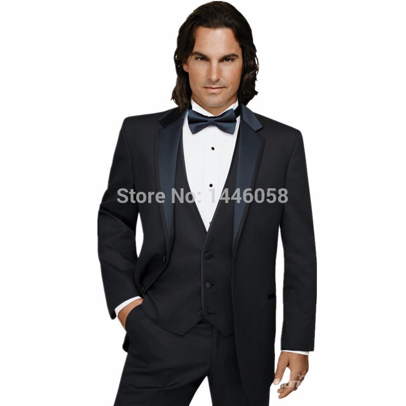 Custom Two Buttons Black Groom Tuxedos Three Pieces Suits Groomsman Prom Suits Business Suit Terno Noivo (Jacket+Pants+Vest+Bow)