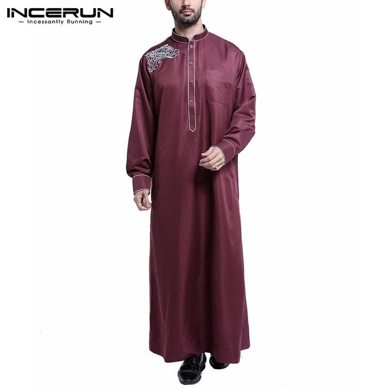 Fashion Men Islamic Arabic Kaftan Embroidery Muslim Jubba Thobe Elegant Stand Collar Long Sleeve Robe Caftan Men Clothes INCERUN