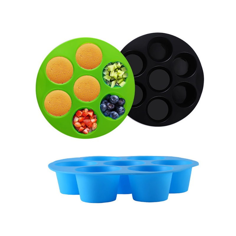 Silicone Egg Cake Mold 7 Hole Round Cake Molds Grid Egg Steam Mould Air Fryer Accessories Fda Safe Reusable Storage Container Aliexpress