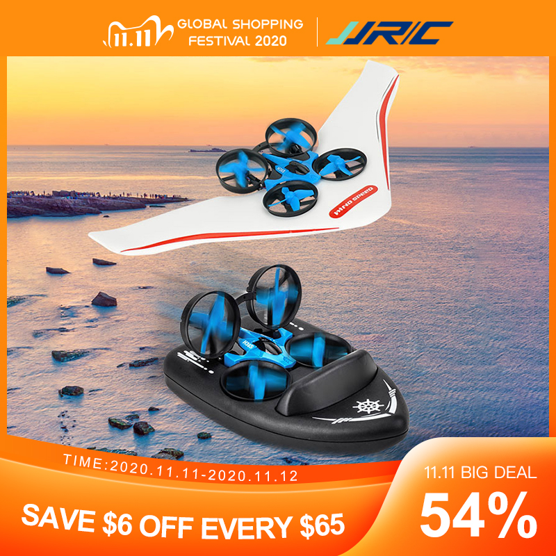 Upgraded H36F JJRC H36S 2.4G 4 In 1 RC Vehicle Flying Drone Land Driving Boat Quadcopter Glidering RTR Model VS H36 E016F