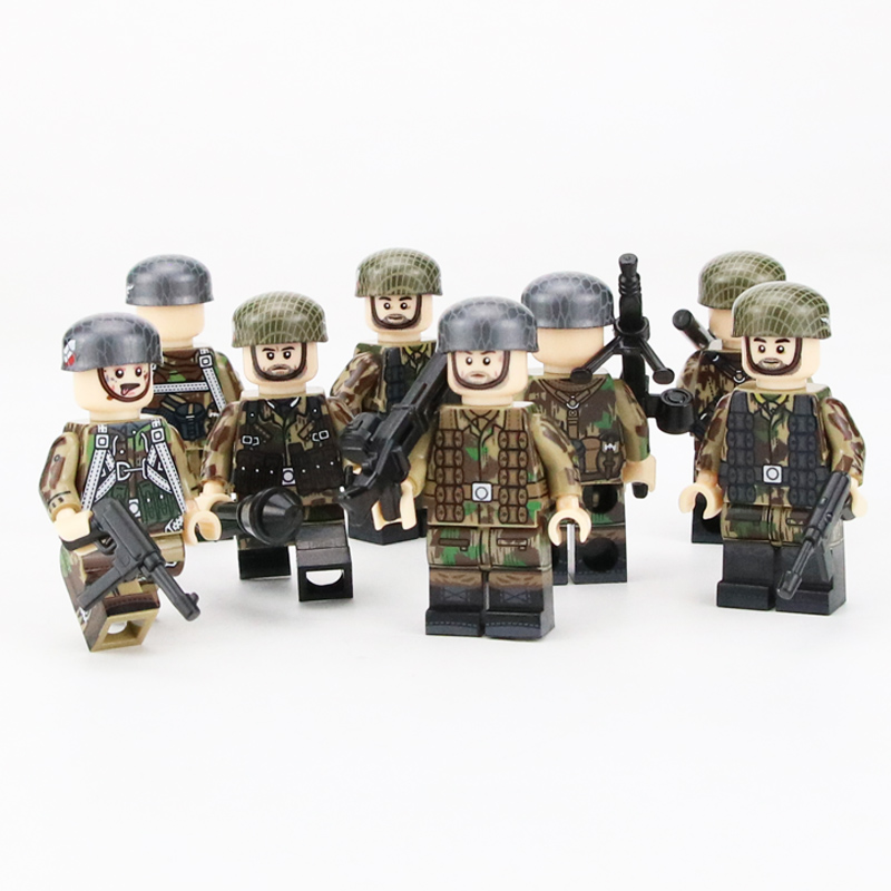 NEW WW2 Military German Paratrooper Soldier Figures Building Blocks Compatible Legoing Military Army Soldiers Weapon Bricks Toys