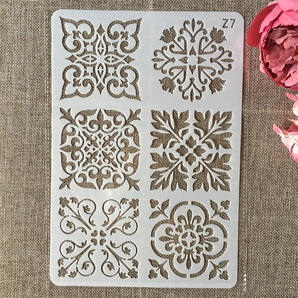 26cm Flower Square Frame DIY Layering Stencils Wall Painting Scrapbook Coloring Embossing Album Decorative Card Template