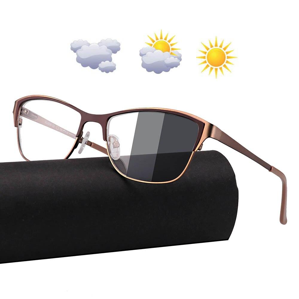 0 -0.50 -0.75 -175 -5.5 -6 Metal Frame Photochromic Sunglasses Chameleon Lens Myopia Glasses Women Short-sighted Eyeglasses