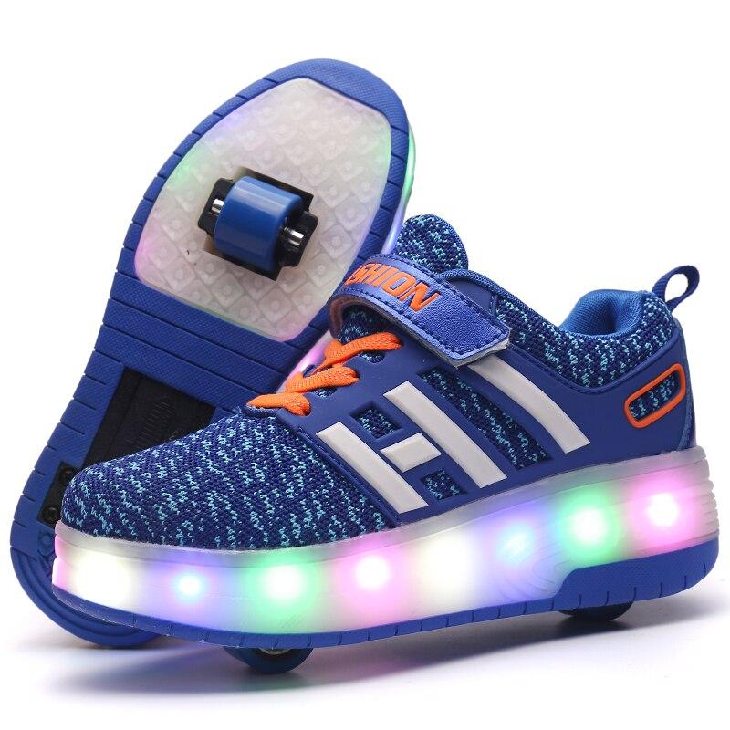 Детская обувь для скейтбординга Heelys ролики с подсветкой скейт обувь Дети patines de 4 ruedas patins мальчик девочка роликовые коньки светящиеся туфли со светодиодами кроссовки - Цвет: Синий