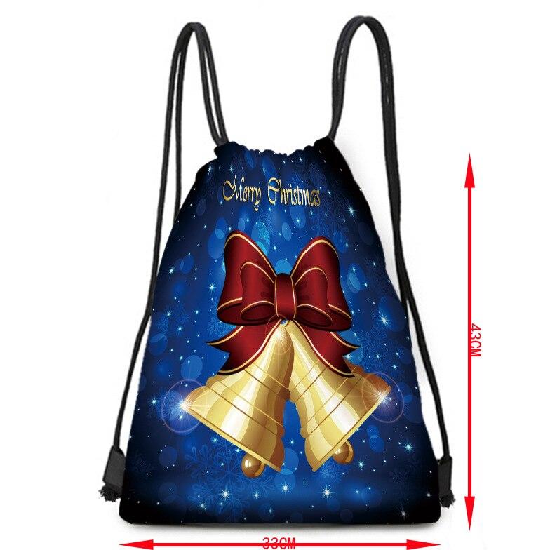 Christmas Golden Bell Storage Bag Tied Polyester Drawstring Bag Portable Small Cloth Bag Travel