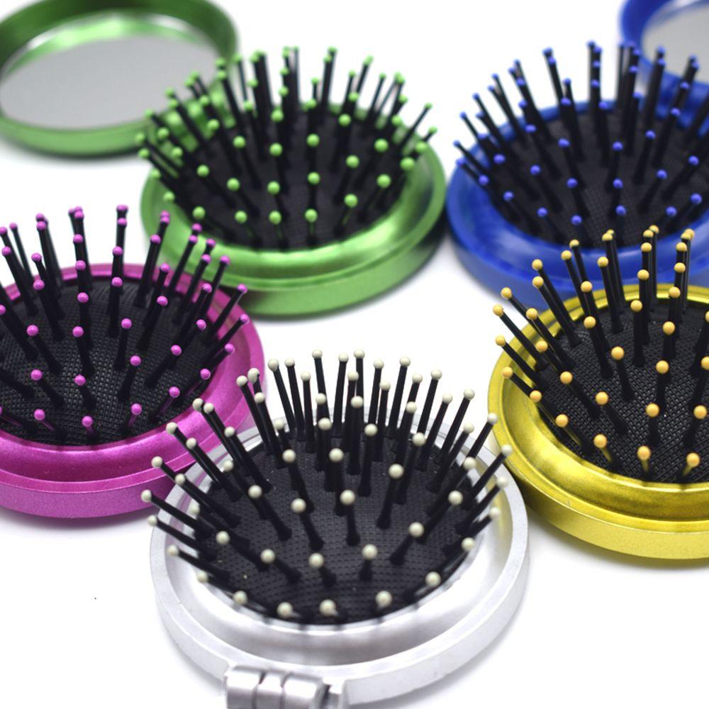 1PC Girls Portable Mini Folding Comb Airbag Massage Round Travel Hair Brush With Mirror Massage Comb Acrylic Hand Sanding