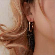 Simple Gold silver stud Earring For Women Statement Fashion Jewelry Accessories Large Circle Round ring Earrings for female nice(China)