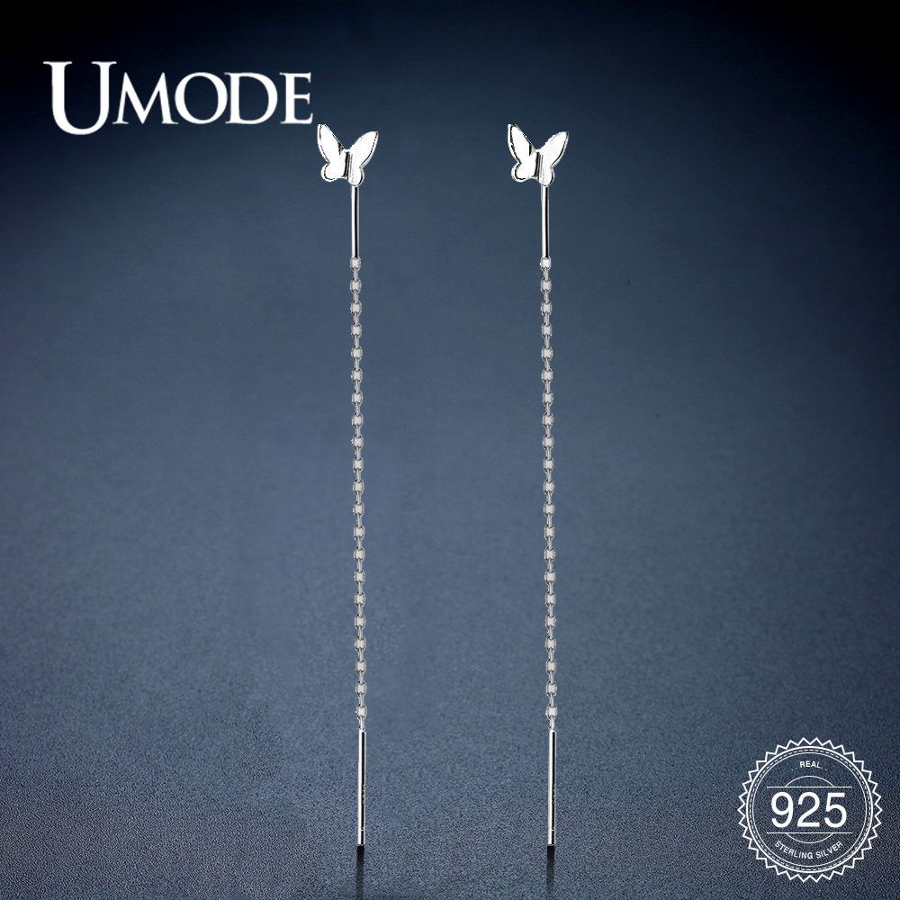 UMODE Pure 925 Sterling Silver Drop Earrings For Women S925 Butterfly Long Chain Dangle Earrings Wedding Party Jewelry ULE0577
