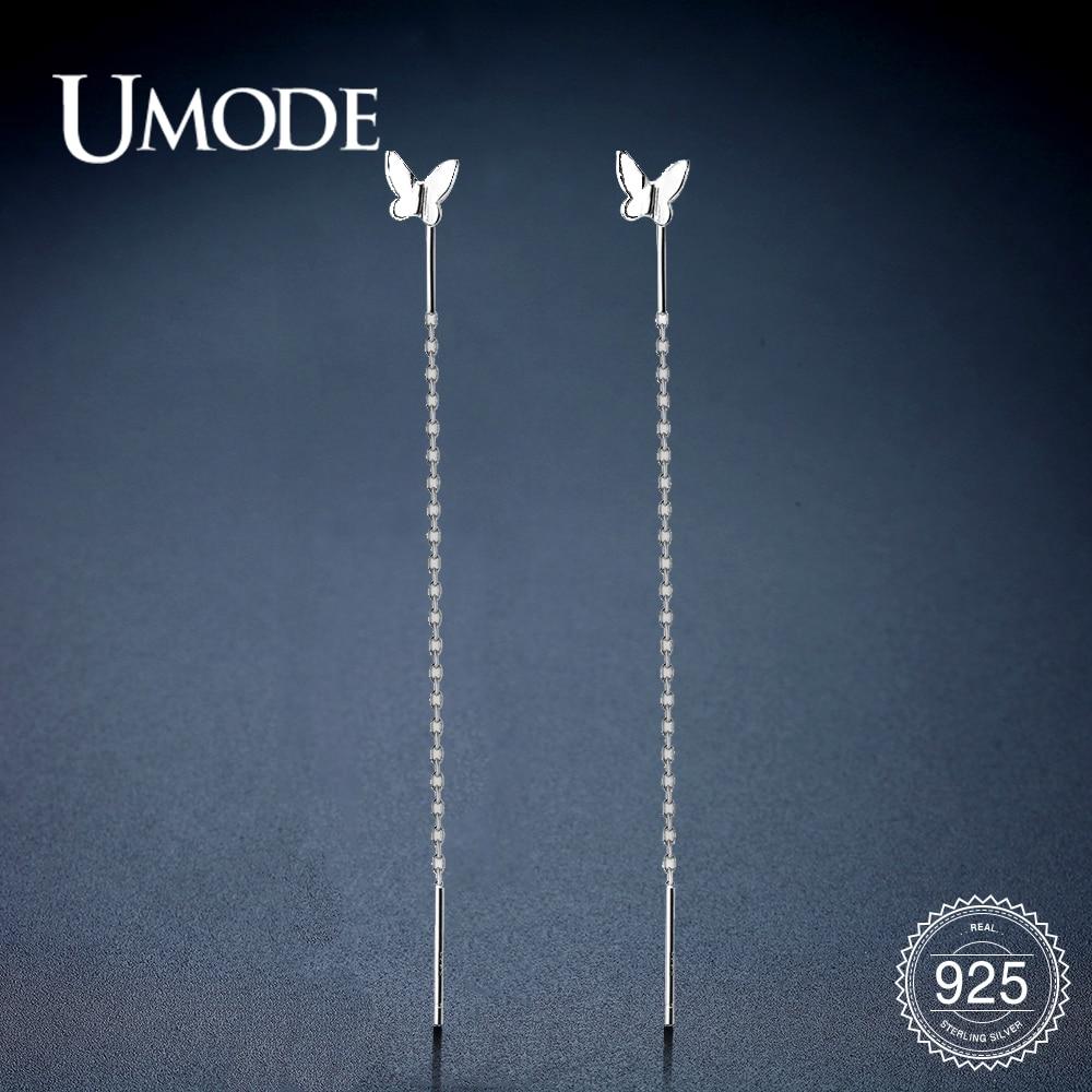 UMODE Pure 925 Sterling Silver Drop Earrings For Women S925 Butterfly Long Chain Dangle Earrings Wedding Party Jewelry ULE0577