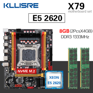 Kllisre X79 motherboard set with LGA2011 combos Xeon E5 2620 CPU 2pcs x 4GB = 8GB memory DDR3 ECC RAM 1333Mhz(China)