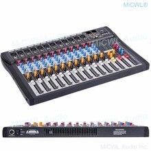 Micwl 12 canais de áudio mixer mixing console música gravação bluetooth mixer dsp phantom power usb monitor mp3 3 marca eq efeito