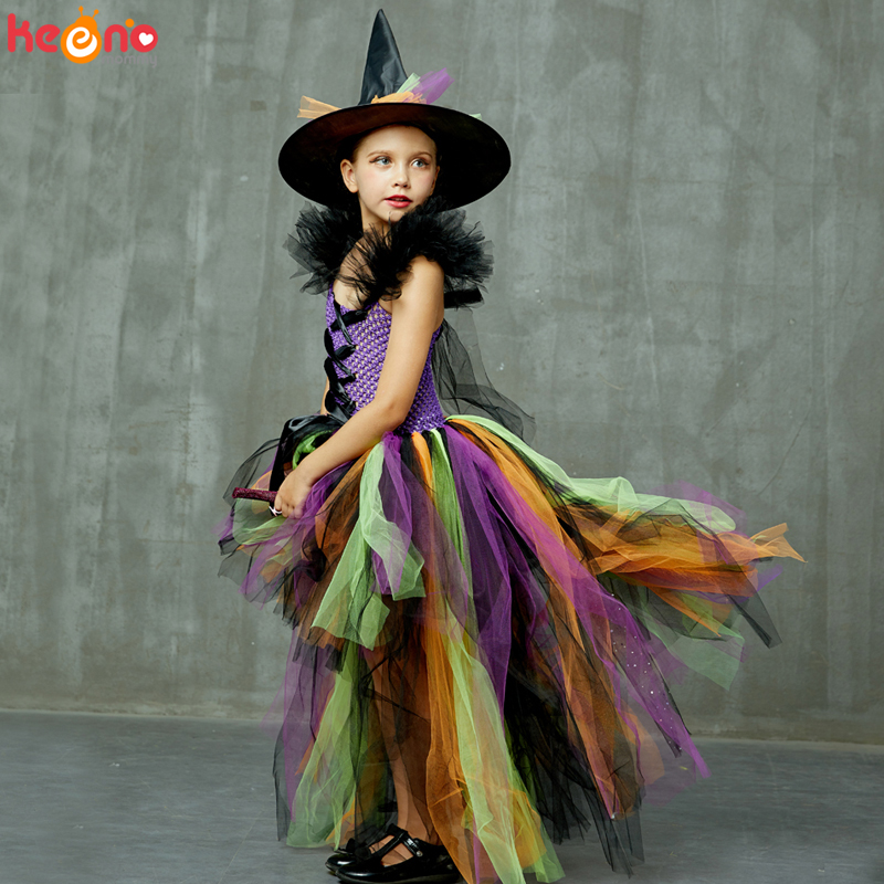 Girls Halloween Witch Tutu Dress Rainbow Trailing Tulle Kids Carnival Cosplay Party Dress Children Fancy Ball Gown Dress Costume 4
