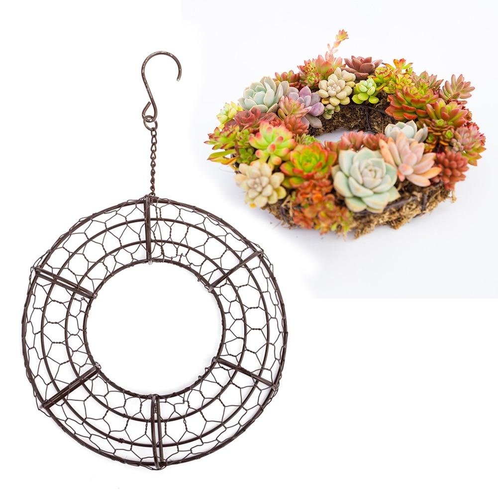 Balcony Hanging Basket Decoration Wedding Wreath Heart Shape Garden Home Holder Succulents Flower Pot Black Iron Simple title=