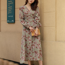 VICONE  new long-sleeved chiffon floral dress female relaxed joker MIDI Dresses