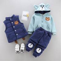 2019 Kids Casual Fashion Warm Thicken Suit Newborn Baby Cartoon Vest+coat+pant 3pcs 0 4 Years Winter Boy Girl Clothing Set