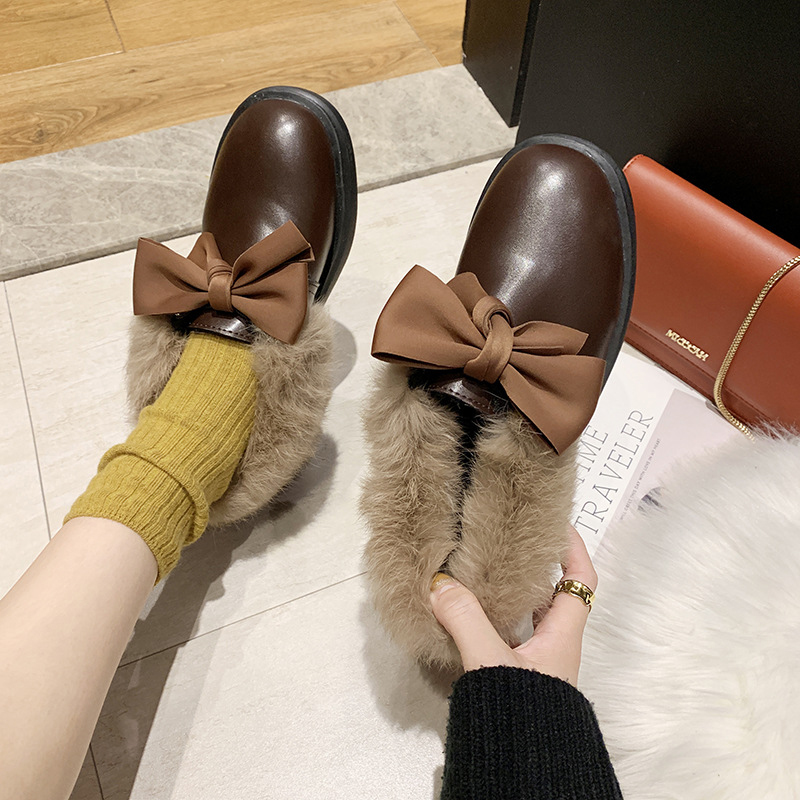 2019 winter long plush warm fur shoes bow tied decorate slip-on leather bullock shoes woman anti-skid chunky leisure espadrilles 43
