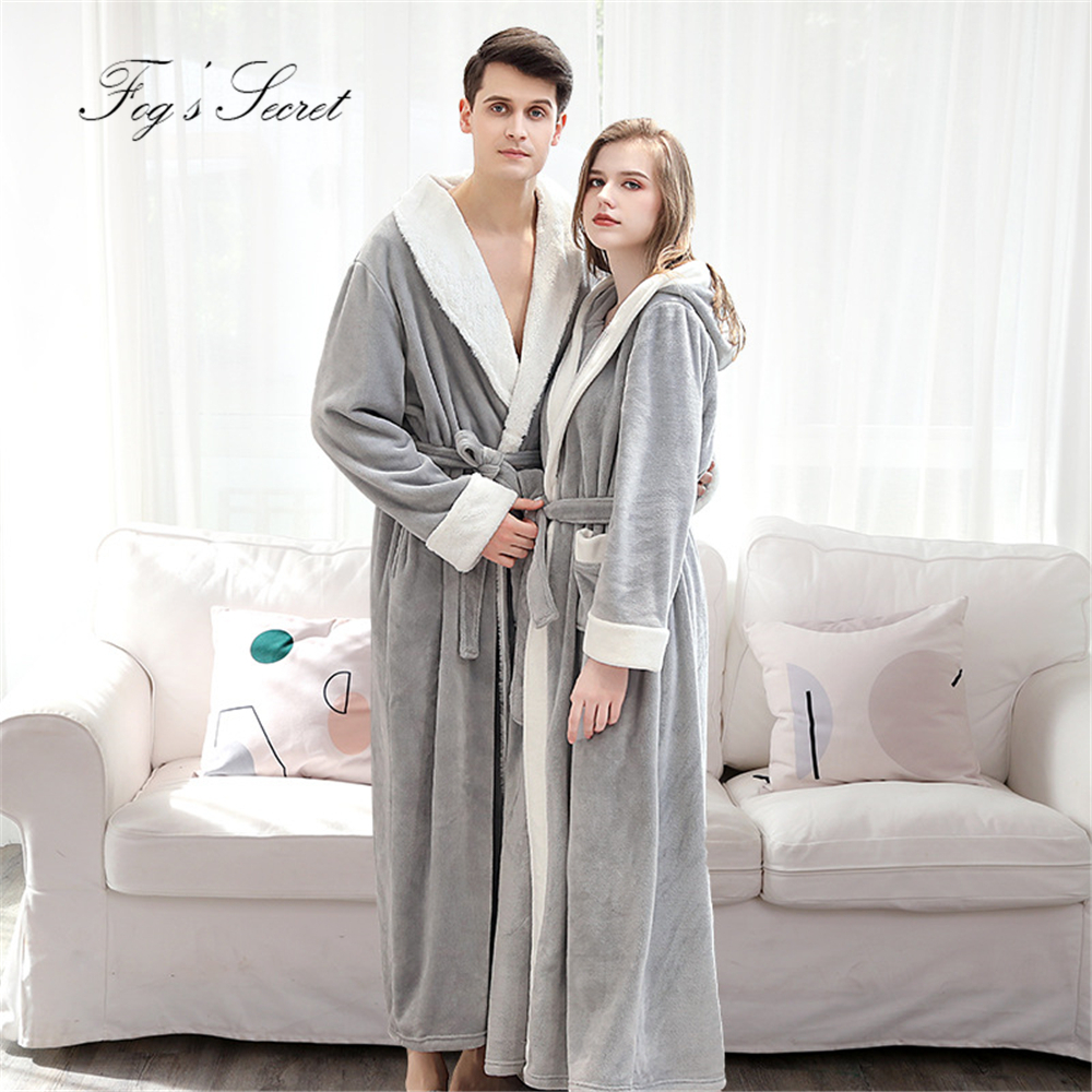 Women Winter Bathrobe Couple Warm Thick Flannel Velvet Bath Robe Roupao De Banho Sleepwear Loose Soft Homewear With Waistband