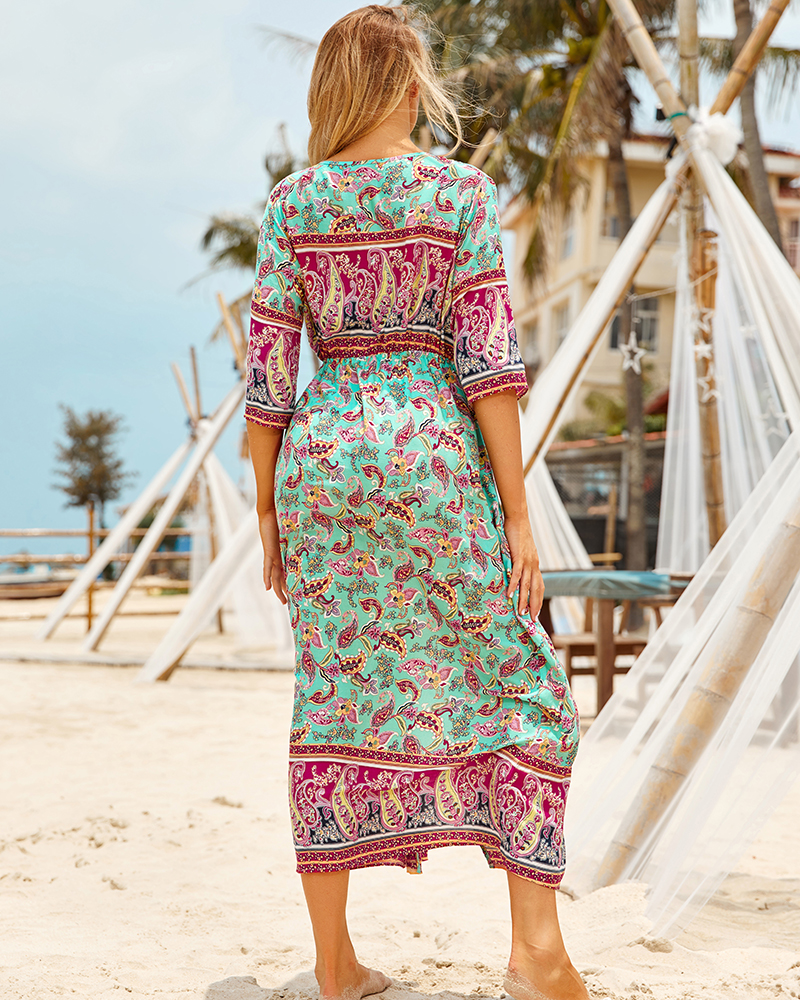 Ha367cc50b97849ca86471ac8f464e40cp - Sexy Bikini Cover ups Cotton Tunic Boho Printed Summer Beach Dress Elegant Women Plus Size