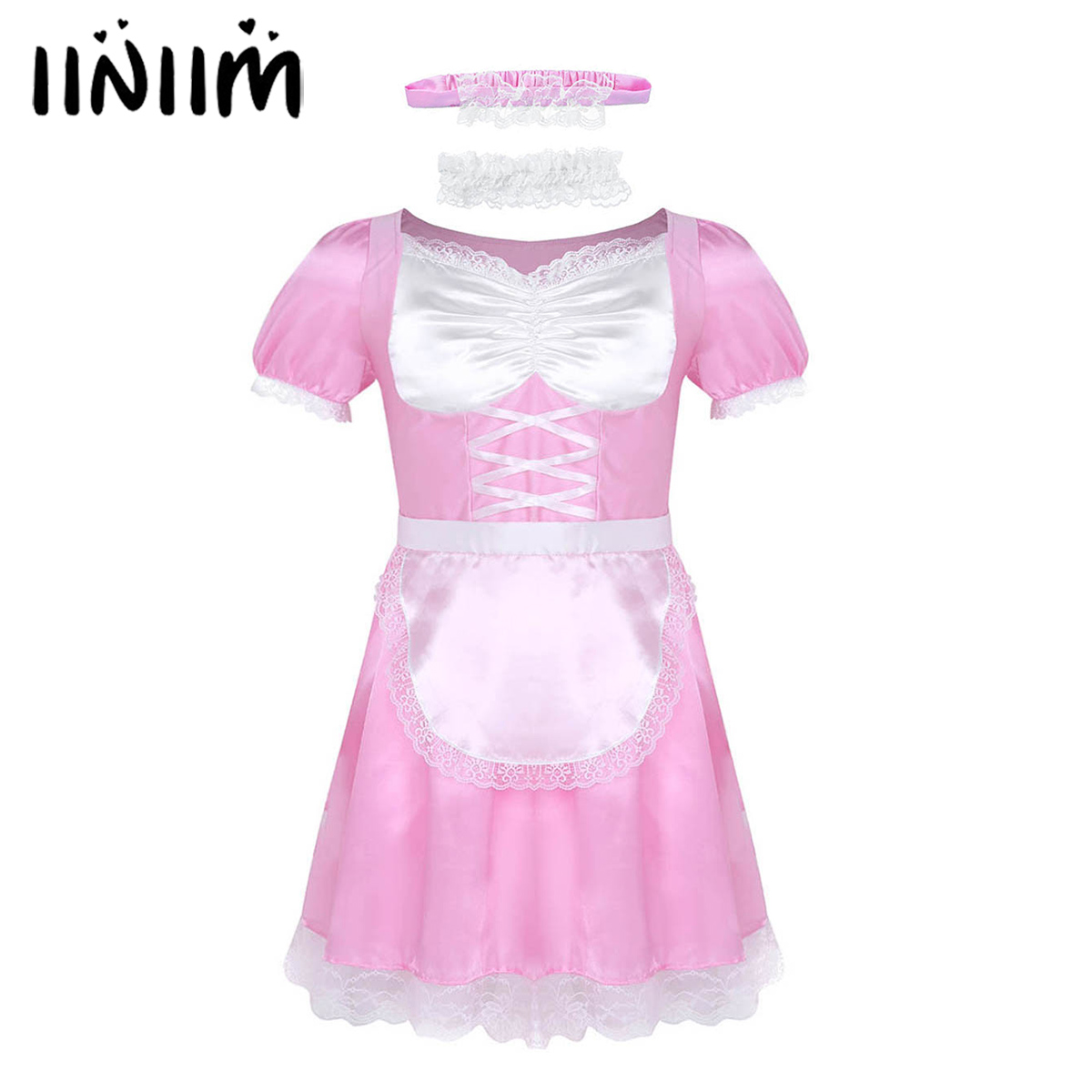 iiniim 3Pcs Mens Sissy Maid Uniform <font><b>Fancy</b></font> <font><b>Dress</b></font> <font><b>Sexy</b></font> <font><b>Costumes</b></font> Clubwear Novelty Parties Satin <font><b>Dress</b></font> with Choker and Headband image