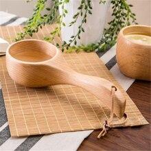 Деревянная ложка для супа с длинной ручкой, натуральные деревянные ложки для воды, здоровые Экологичные деревянные столовые приборы кухонные принадлежности