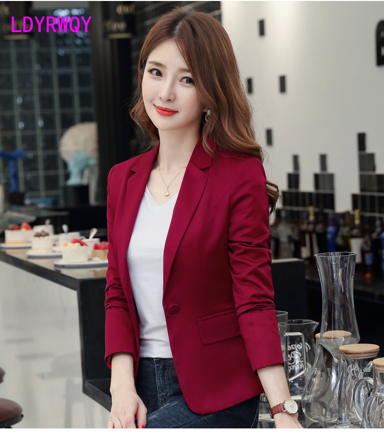 2019 New Autumn Korean Version Of The Women's Self-cultivation Of The Skinny Casual Jacket Red Suit Female