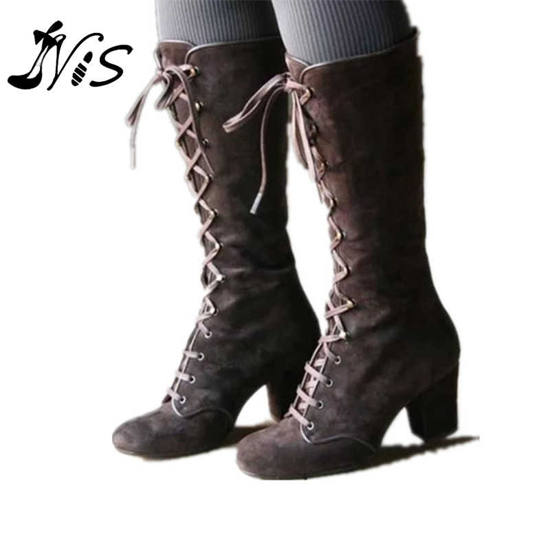 NIS ผู้หญิงฤดูหนาว Gothic Vintage สไตล์ Punk BOOT Lace Up ส้นรองเท้าเข่าสูง BOOT Elegant Lace Up กลางส้นรองเท้า