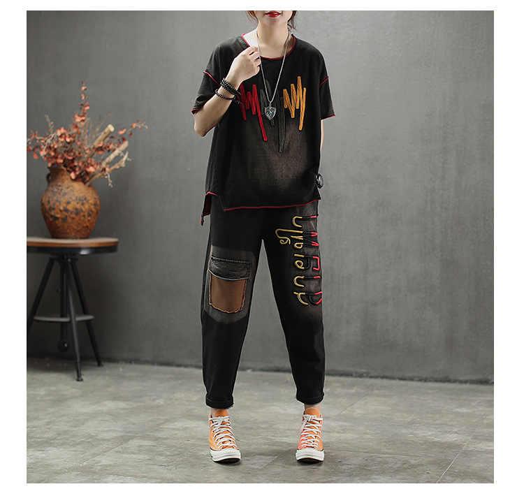 Wanita Pakaian Latihan Yg Hangat Vintage Bordir Jean Baju Wanita High Street Punk Suit Elastis Pinggang Celana Harem Wanita 2019 Musim Semi AA158S30