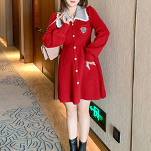 Waist-Dress Plus-Sizes Pocket-Knitted Women Lace for High-Quality Badge Contrast Lapel