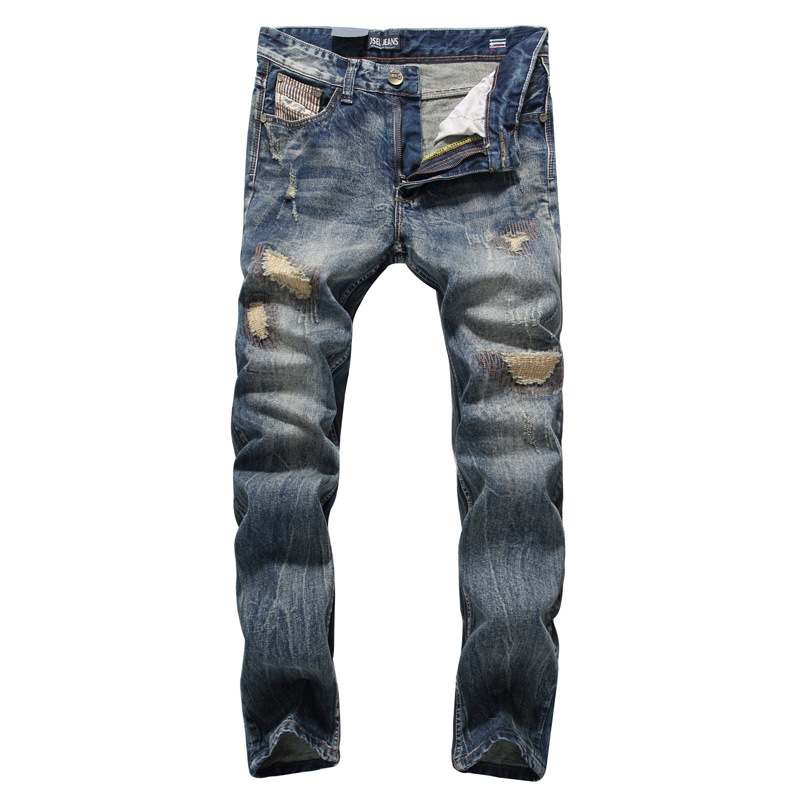 England Dark Jeans Men High Quality Slim Fit Designer Denim Patch Jeans Male Pants Brand Clothing Men`s Destroyed Jeans