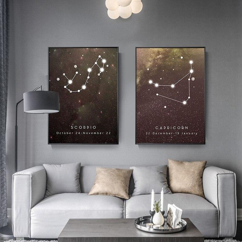Созвездия зодиака звезды геометрический абстрактный холст комната декоративная живопись HD искусство подвесная Живопись рыбы Рак Овен весы