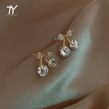 2020 classic zircon cherry shaped  Earrings for women's Korean sexy girl Earrings Fashion Party unusual Earrings luxury jewelry