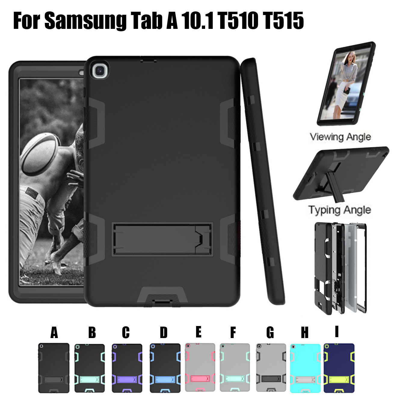 Tablet Case Cover Shock-Proof Hybrid Case For Samsung Galaxy Tab A 10.1 T510/T515 2019 Tablet Protective Cases Covers