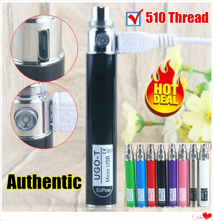 Original UGO T Battery EGO Electronic Cigarette Vaporizer 650mah Battery Vape 510 Thread Fit With CE4 MT3 Atomizer E Cigarettes