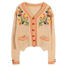 Shuchan Prairie Chic Embroidery Floral Short Womens Sweaters 2019 Autumn Cute Sweater Single Breasted Knitted 11008