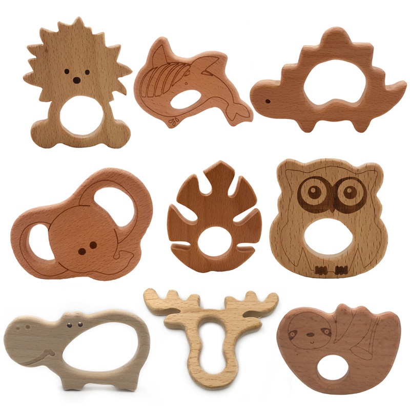 Baby Wooden Teethers Food Grade Beech Wood Animal Tortoise Koala Whale Turtle Wooden Shape Pacifier Wooden Teether Newborn Toys