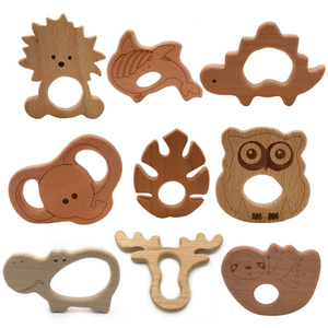 Baby Wooden Teethers Food Grade Beech Wood Animal Tortoise Koala Whale Turtle Wooden Shape Pacifier Wooden Teether Newborn Toys(China)