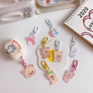 Cute Little Bear Keyring Acrylic Lovely Bunny Pendant Keychain Jewelry Women Girl Car Bag Key Chains Kids Toy Keyfob Gift