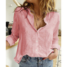 Womens Tops Blouses Spring Autumn Solid Leisure Shirts Butto